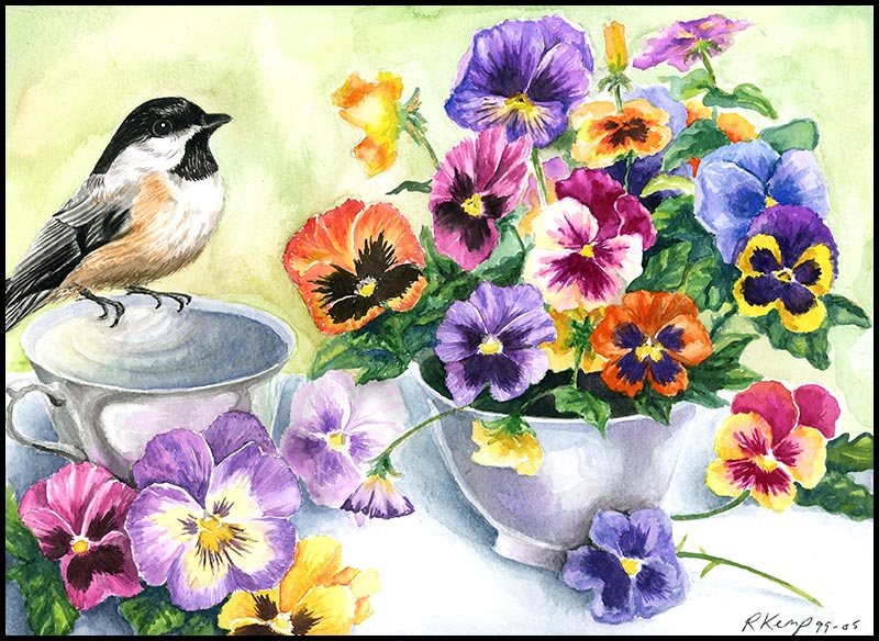 Little Sip - chickadee with pansies