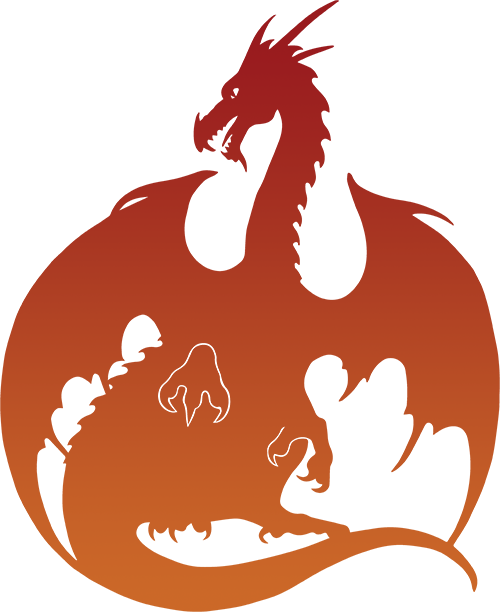 Dragon Silhouette - Red & Orange