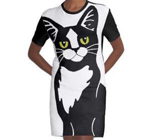 Tuxedo Cat Graphic T-shirt Dress
