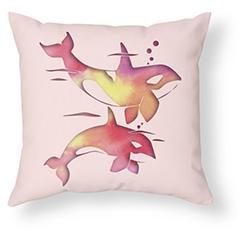 Peach Sea Orca Whale Pillow