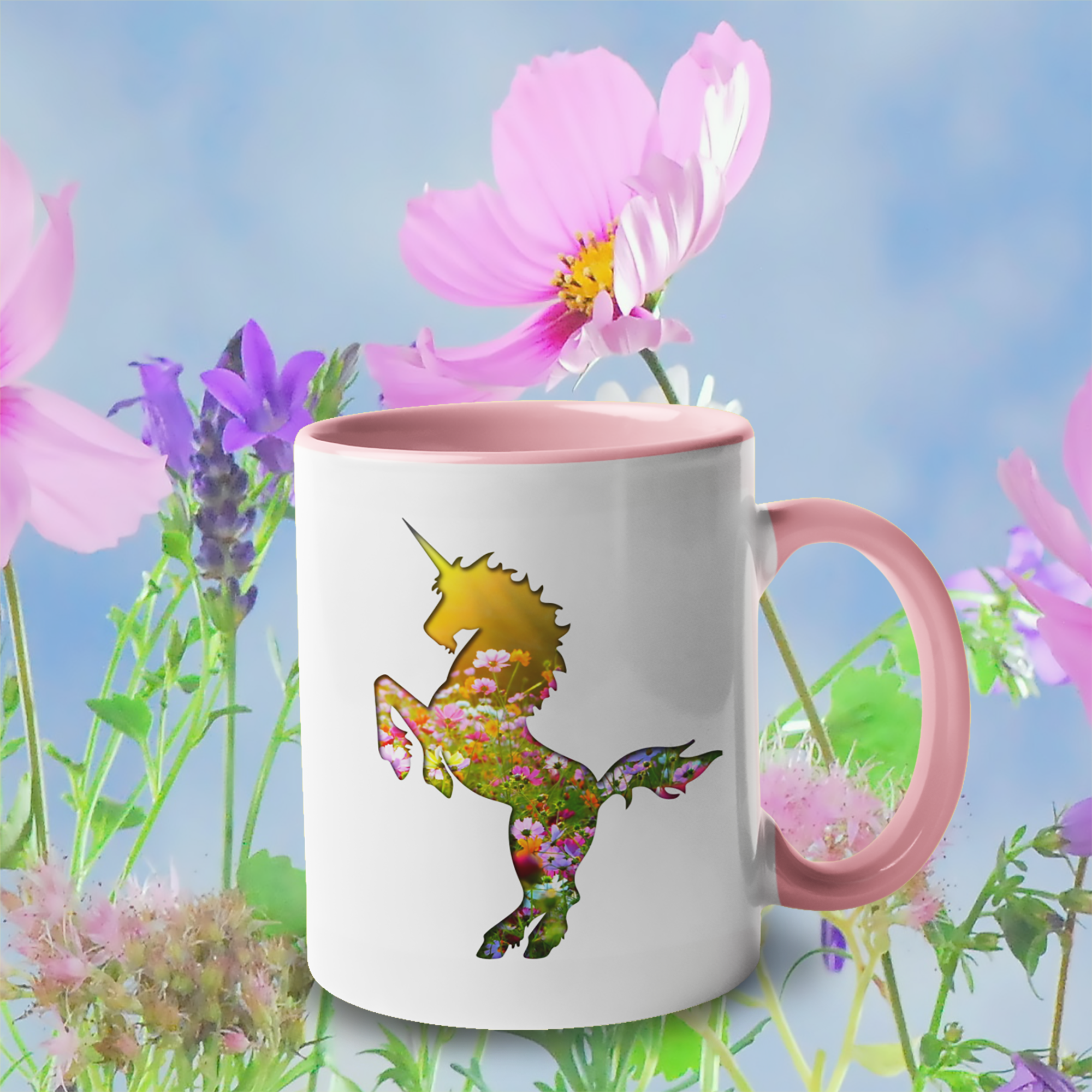Field of Flowers Unicorn accent mugs